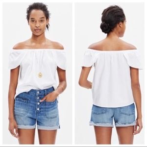 Madewell Flutter Off-the-Shoulder Blouse White M